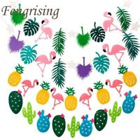 Flamingo Pineapple Summer Party Leaves Garland Bunting Banner Birthday Decor
