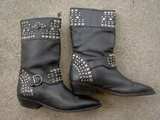 Paolo Fellicce vintage Studded Leather Cowboy Rocker Punk Rave boots size 10 1/2