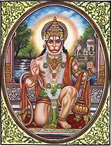 Hanuman Hindu Ramayana Art Handmade Oil on Canvas India Ethnic Religion Painting