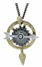 Steam Punk Necklace Spin Arrow 24 In Chain faux Gold or Silver Jewelry Steampunk
