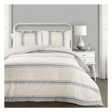 Lush Decor Farmhouse Blue Stripe 3 Piece Comforter Set, King ~ Ships Free