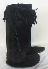 Renaissance Western Indian Suede Leather Moccasins Fringe Knee Boots Black