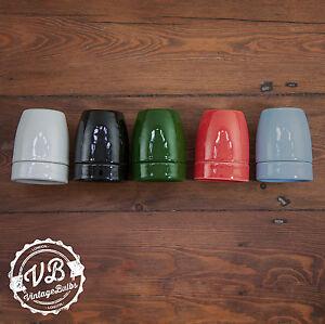 Vintage ceramic porcelain lamp holder antique style retro fitting Edison E27