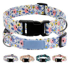 Nylon Floral Dog Collar Adjustable Durable Pet Puppy Walking Collars & D-ring