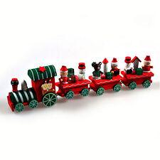 4pcs Xmas Wooden Christmas Train Santa Claus Festival Ornament Decor Gifts