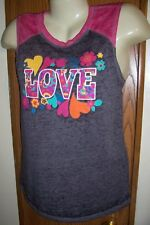 M TANK TOP MUSCLE SHIRT NEON PINK WHITE GRAY LOVE HIPPIE FLOWERS 7 9