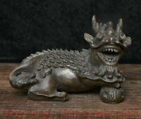 "5 ""Chine Antique Bronze Fengshui 12 Zodiaque Année Animal Dragon Chanceux Statue"