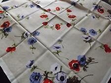Vintage Printed Rayon Unused Tablecloth ANEMONES Flowers 126 cm x 128 cms Topper