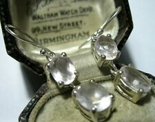 Rose Quartz Gem Stone Drop Earrings Vintage Style Sterling Silver Real Pale Pink