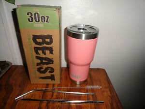 NEW 30 oz BEAST 800ml Pink Stainless Steel Insulated Tumbler - Cup 2 Straws Lid