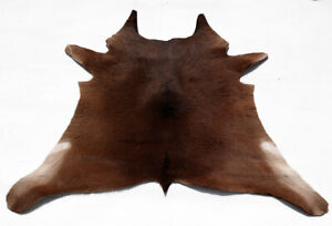 """Rare Cowhide Rugs Calf Hide Cow Skin Rug (31""""x33"""") Dark Brown White CH8520"""