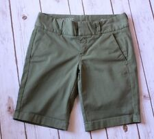 "J Crew Andie Chino Shorts Womens 00 XXS 9"" Inseam Green Cotton Blend Flat Front"