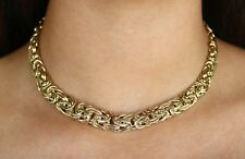 Yellow Gold Byzantine Necklace 14K, Statement Gold Necklaces for Women