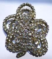 Vintage Rhinestone Pin 5 Petal Flower Silver Nice & Sparkly 1950s Retro