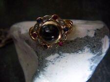 Traumhafter Jugendstil Saphir Rubin Brilliant Ring signiert 585er Gold Bicolor
