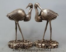 "13"" Chinese Silver Good Lucky Longevity Red-crowned Crane Animal Pair Statue"
