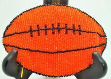 orange color beaded handmade zipper style coin purse wallet pouch bag FOOTBALL W