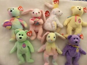 Easter Ty Beanie Baby Lot Retired Easter Bunnies Bunny & Bear Bears