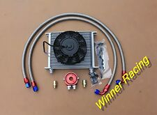 30 Rows AN8 Engine Transmission Oil Cooler + 7'' Fans + Filter Relocation Kit