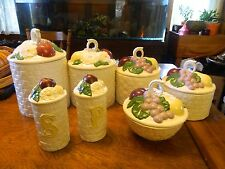 Vintage Set Of 4 Canisters  Sugar Bowl  Salt Peppers Shakers Fruit In A Basket