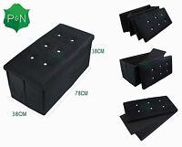 NEW Large Black Diamante Ottoman Bedding Storage Box Seat Bench Footstool suede