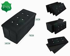 NEW Large Black Diamante Ottoman Bedding Storage Box Seat Bench Footstool suede