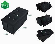 Nuevo Negro Grande Caja de Almacenamiento de ropa de Cama Otomano Diamante Asiento Banco Con Reposapiés De Gamuza
