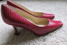 "Red Karen Scott Leather Snakeskin Square Toe  3"" Pumps Heels Sz 7 W $43.00"