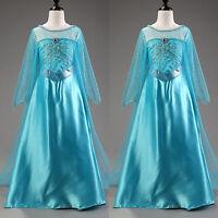 Girl Disney Elsa Frozen Maxi Dress Cosplay Costume Princess Party Fancy Dresses