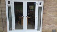 white u,p,v.c french doors with side panels upto 2.4m