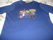 Quacker Factory Fall Scenes Embroidered 3/4 Sleeve Blue Top QVC #A280815 NWT