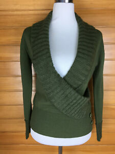 Alannah Hill Olive Green Open Necked Jumper Pullover Ribbed Collar Size 12 EUC
