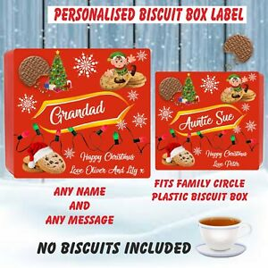 Personalised Biscuit LABEL ONLY for Family Circle  Christmas gift