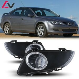 For Mazda 6 03-05 Clear Lens Pair Bumper Halo Fog Light Lamp Replacement
