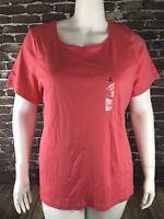 New Karen Scott Womens Top T-Shirt Blouse Coral Stretch Short Sleeve Sz 1X NWT