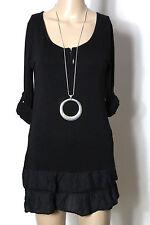 Tunika Gr. S schwarz Baumwolle Shirt Tunika mit Volants aus Italien