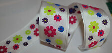 RIBBON with COLOURED FLOWERS, 1 Mtr, Gifts/Cards/Bows/Party/Birthday/Girl