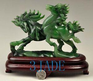 Natural Green Nephrite Jade Running Horses Statue / Carving Sculpture