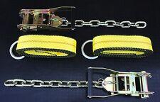 "4pc Rollback Lasso Wheel Straps & 2"" Ratchet w Chain Tail f Wrecker Car Hauler"