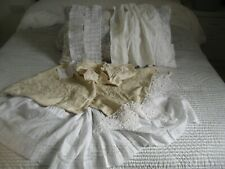 More details for antique handworked whitework,~lace and silk embroidered panels~rework dolls etc