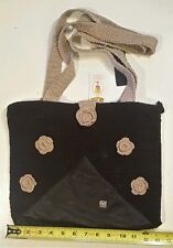 Little Dolly Fabric & Leather Black & Tan Tote Pocketbook Hobo Bag New w/ Tag