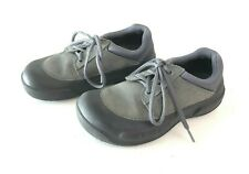 Lace up blue gray black leather CROCS boat shoes rounded toe mens 5 womens 7 tie