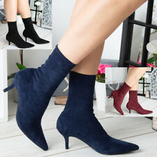 Ladies Ankle Boots Womens Pointed Toe Sock Stiletto Mid Heel Comfy Shoes Size