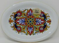 """Nova Deruta  FLORAL 9.5"""" x 7"""" serving Plate ~  Made in ITALY  NEW"""