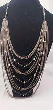 Long Multi Strand Waterfall Drape Chain Crystal Beaded Necklace