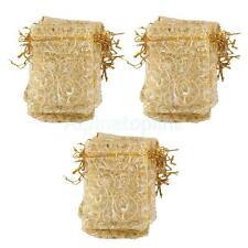 100x Golden Eyelash Organza Bag Wedding Gift Bag Jewelry Candy Pouch 12x9cm