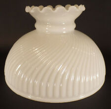 "10"" Glass Opal White Rib Swirl Crimp Top Student Lamp Shade fit Aladdin USA made"