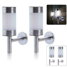 2x Stainless Steel Solar LED Wall Light Garden Outdoor Light Patio Q1V4