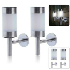2x Stainless Steel Solar LED Wall Light Garden Outdoor Light Patio Q1V4