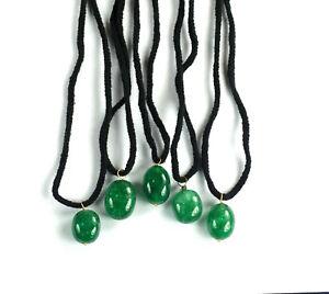 "Green Emerald Gemstone Handmade Pendant 13"" Long Natural 5 Pcs Certified"